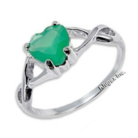 Ezüst Gyűrű Szív Alakú Zöld Ónixszal