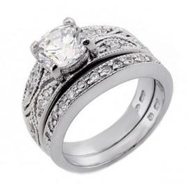 Ezüst Eljegyzési Gyűrű Szett