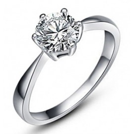 Fehéraranyazott Eljegyzési Gyűrű 0.5 Karát Gyémántutánzattal