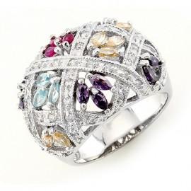 Ezüst Koktél Gyűrű Cirkóniával