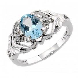 Kék Topáz Ezüst Gyűrű Cirkóniával