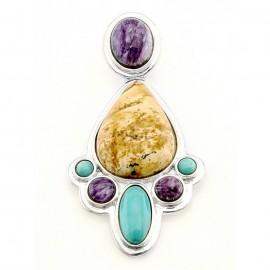 Délnyugati Stílusú Ezüst Medál Drágakövekkel