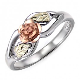 Black Hills Ezüst Gyűrű Arany Rózsával