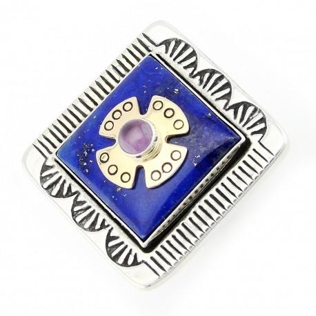 Ezüst és 14K Arany Gyűrű Lápisz Drágakővel