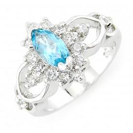 Ródiumozott Ezüst Gyűrű Topáz Drágakővel