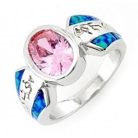 Ezüst Kokopellis Opál Gyűrű Rózsaszín Cubic Zirconiával