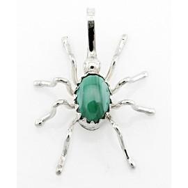 Indián Ékszer Ezüst Pókmedál Malacit Drágakővel