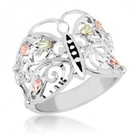 Black Hills 925 Ezüst Pillangó Gyűrű 12 karátos Arany Díszítéssel