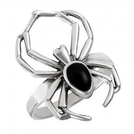 Ezüst Pók Gyűrű Fekete Kővel