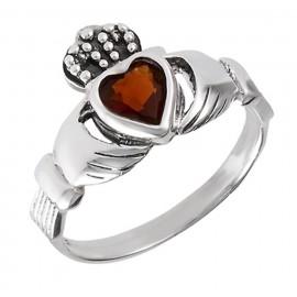 Sterling Ezüst Claddagh Gyűrű Gránáttal