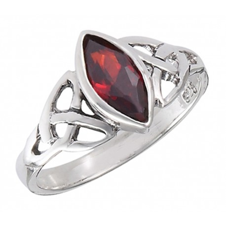 Sterling Ezüst Kelta Gyűrű Gránáttal