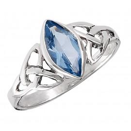Sterling Ezüst Kelta Gyűrű Kék Topázzal