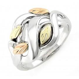Elegáns Black Hills Ezüst és 12 Karátos Arany Gyűrű