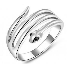 Magas Fényű Kigyó Gyűrű Fekete Kristály Szemmel