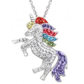 Swarovski Kristály Egyszarvú Unicorn Ezüst Medál Nyaklánccal