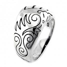 Ezüst Gyűrű Bali Mintával