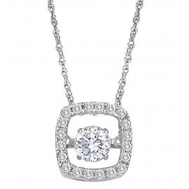 Ródiumozott Ezüst Nyaklánc 1 Karát Szintetikus Gyémánttal