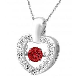 Ródiumozott Ezüst Szívmedál Szintetikus Gyémánttal és Rubinnal