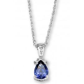 Ródiumozott Ezüst Medál Szintetikus Gyémánttal és Tanzanittal