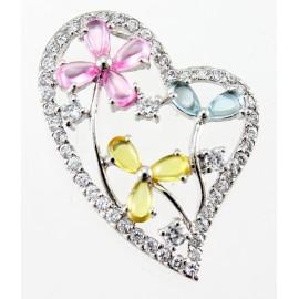 Ezüst Szívmedál Virágokkal Színes Cubic Zirconia Kövekkel
