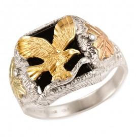 Black Hills Arany és Sterling Ezüst Sas Férfi Gyűrű Onix Drágakővel