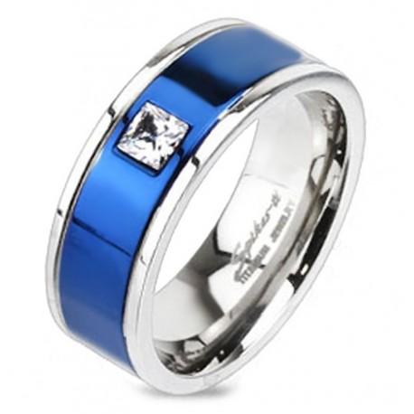 Titánium Karikagyűrű Kékkel Kombinálva Szintetikus Gyémánttal