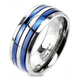 Titánium Karikagyűrű Kék Csíkokkal