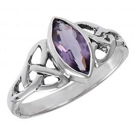 Ezüst Kelta Gyűrű Ametiszttel