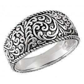 Ezüst Gyűrű Tibetán Mintázattal