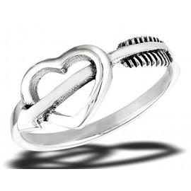 Ezüst Szív Gyűrű Nyíllal Átlőve