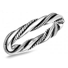 Ezüst Bali Stílusú Csavart Karika Gyűrű