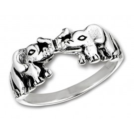 Ezüst Női Gyűrű Elefántokkal