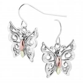 Ezüst Pillangó Fülbevaló 12 Karát Arany Levelekkel