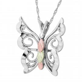 Ezüst Pillangó Medál 12 Karát Arany Levelekkel