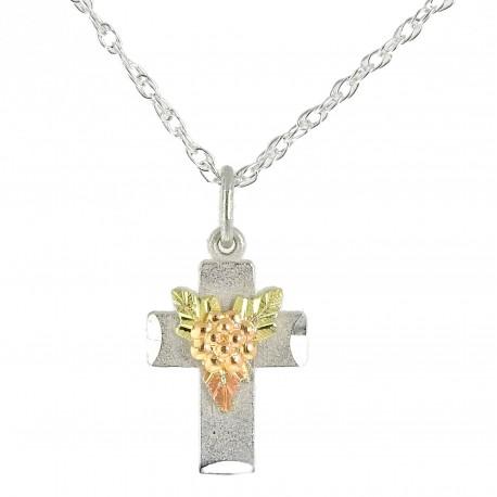 Ezüst Kereszt Medál 10 Karát Arany Szőlővel