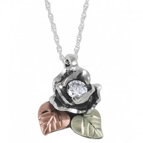 Ezüst Rózsa Medál Szintetikus Gyémánttal