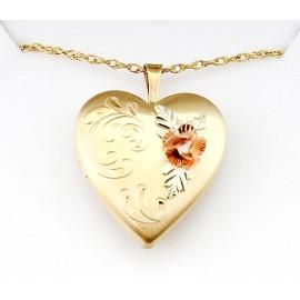 Aranydiffúziós Nyitható Szívmedál 10 Karátos Rózsával