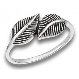 Ezüst Női Gyűrű Ölelkező Levelekkel