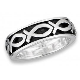 Ezüst Forgatható Karikagyűrű Keresztény Halakkal