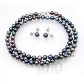 Black Pearl - Sötét Lila Igazgyöngy Nyaklánc és Fülbevaló Szett