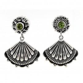 Ezüst Fülbevaló Smaragd Drágakővel