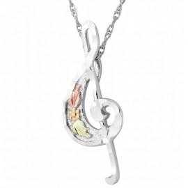 Black Hills Ezüst és 12K Arany Violinkulcs Medál Lánccal