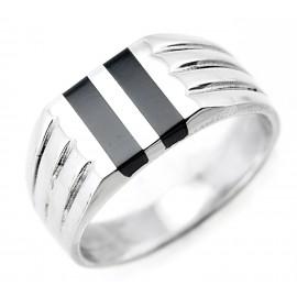 Ezüst Férfi Gyűrű Fekete Kő Intarziával