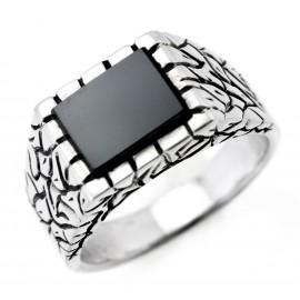 Ezüst Férfi Gyűrű Fekete Kővel