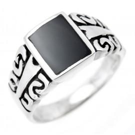 Ezüst Mintás Férfi Gyűrű Fekete Kővel