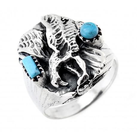 Ezüst Férfi Sas Gyűrű Türkiz Kövekkel