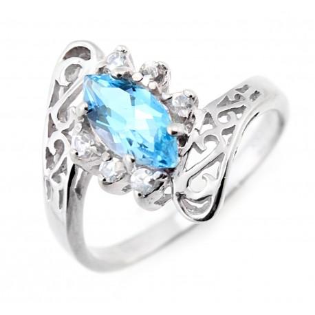 Ezüst Női Gyűrű Kék Topázzal