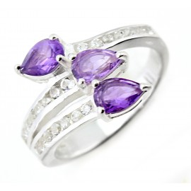 Ezüst Női Gyűrű Ametiszt Kövekkel