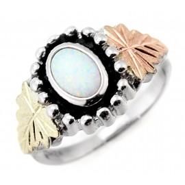 Black Hills Női Ezüst Gyűrű Opállal 12K Arany Levelekkel