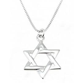 Ezüst Dávid Csillag Medál Ezüst Lánccal